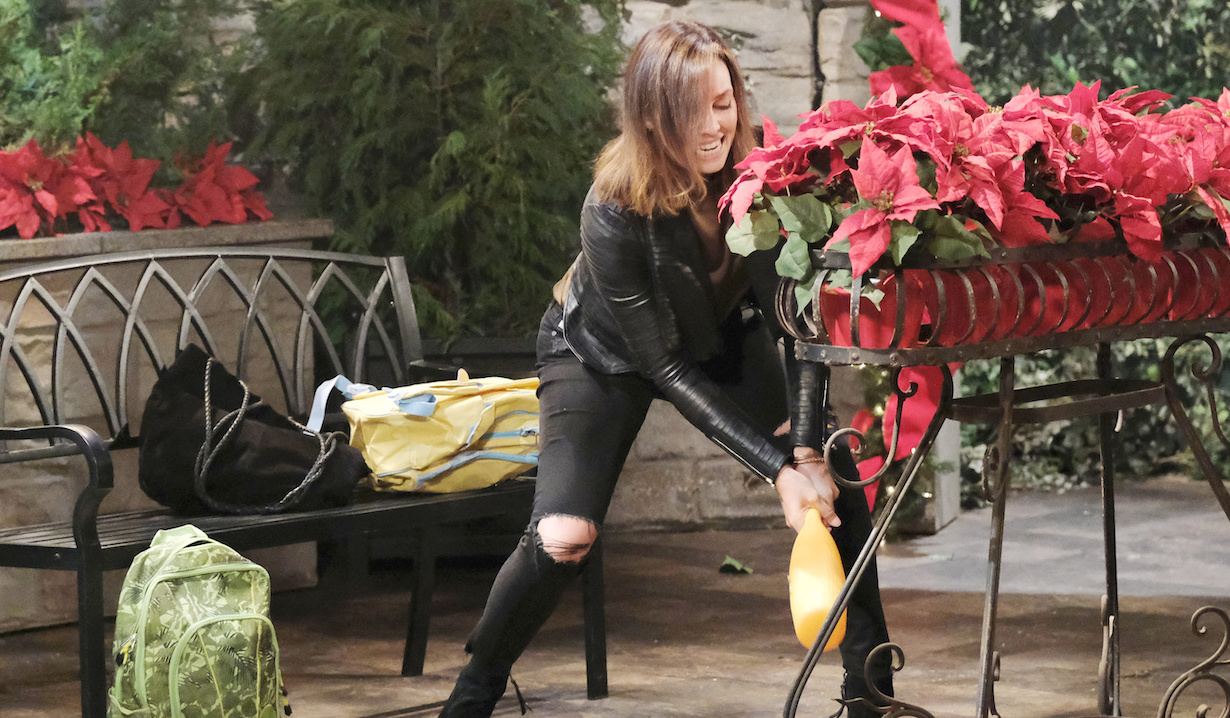 Gwen smashes poinsettias on Days of Our Lives
