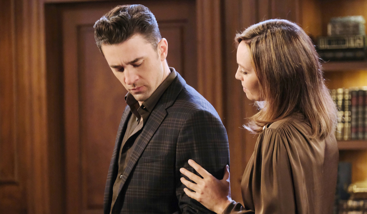 Gwen and Chad in a close moment on Days of Our Lives