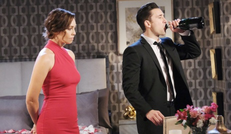 Gwen watches as Chad chugs champagne on Days of Our Lives