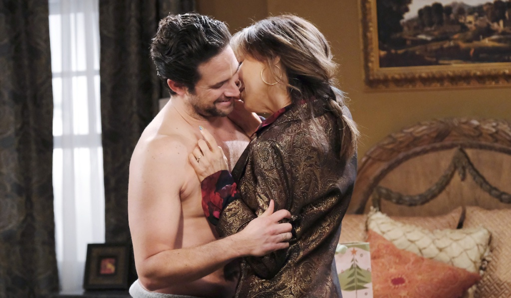Jake and Kate canoodle in the bedroom on Days of Our Lives
