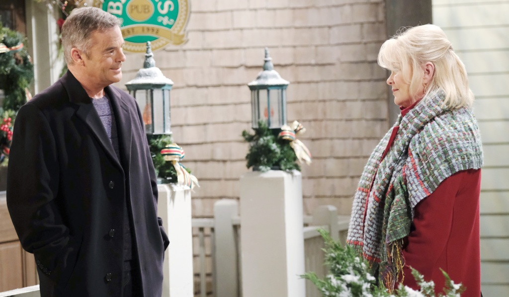 Justin and Bonnie talk outside Brady's Pub on Days of Our Lives