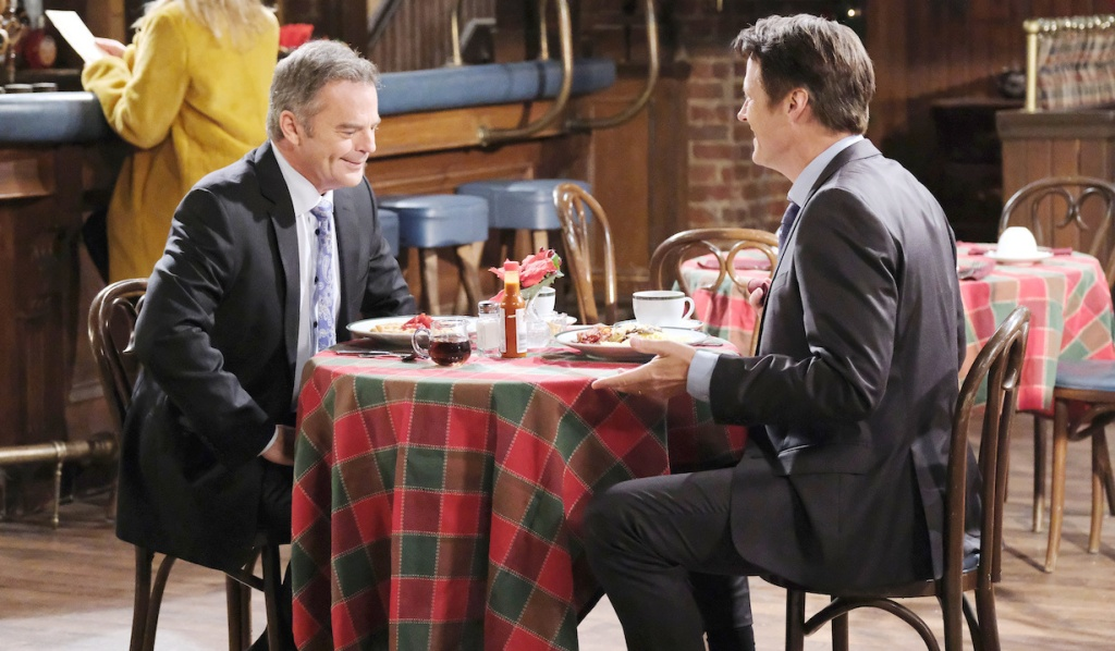 Jack and Justin eat at Brady's Pub on Days of Our Lives