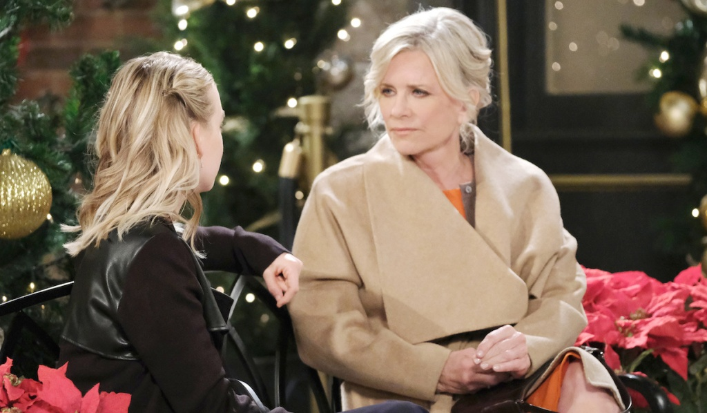 Kayla and Claire talk in the Square on Days of Our Lives