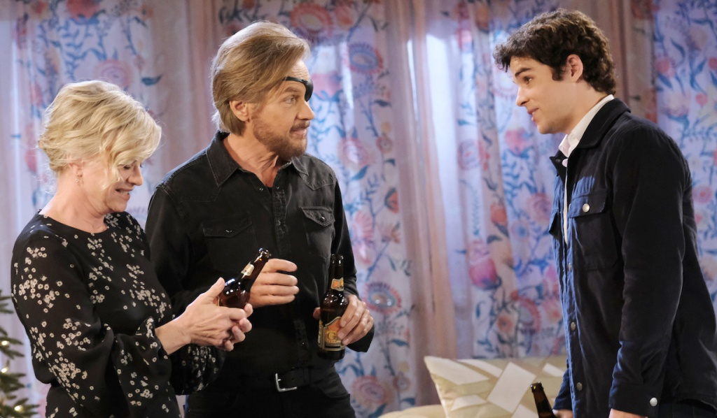 Kayla, Steve and Joey have a beer on Days of Our Lives