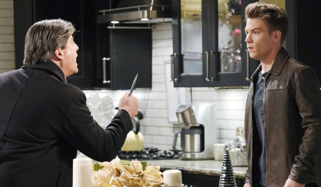 Lucas confronts Tripp with a weapon on Days of Our Lives