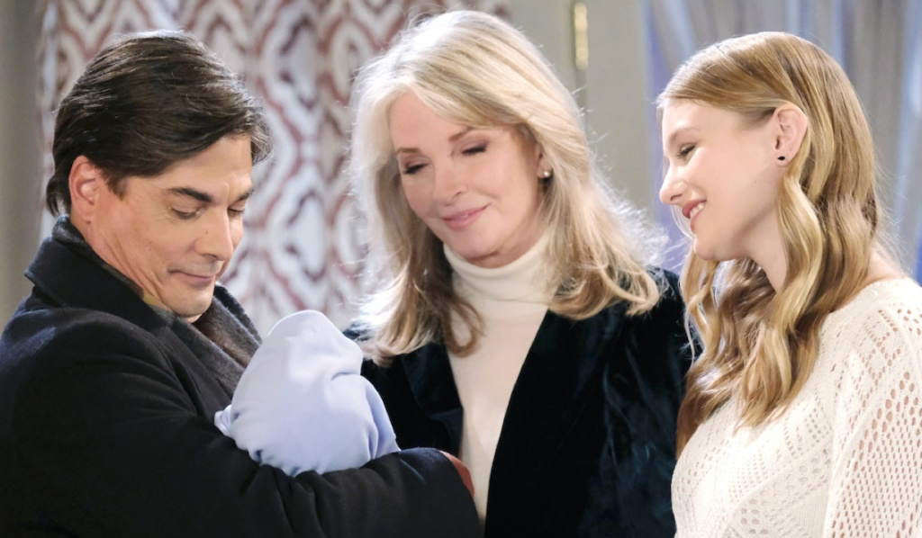Lucas, Marlena, and Allie marvel at Henry on Days of Our Lives