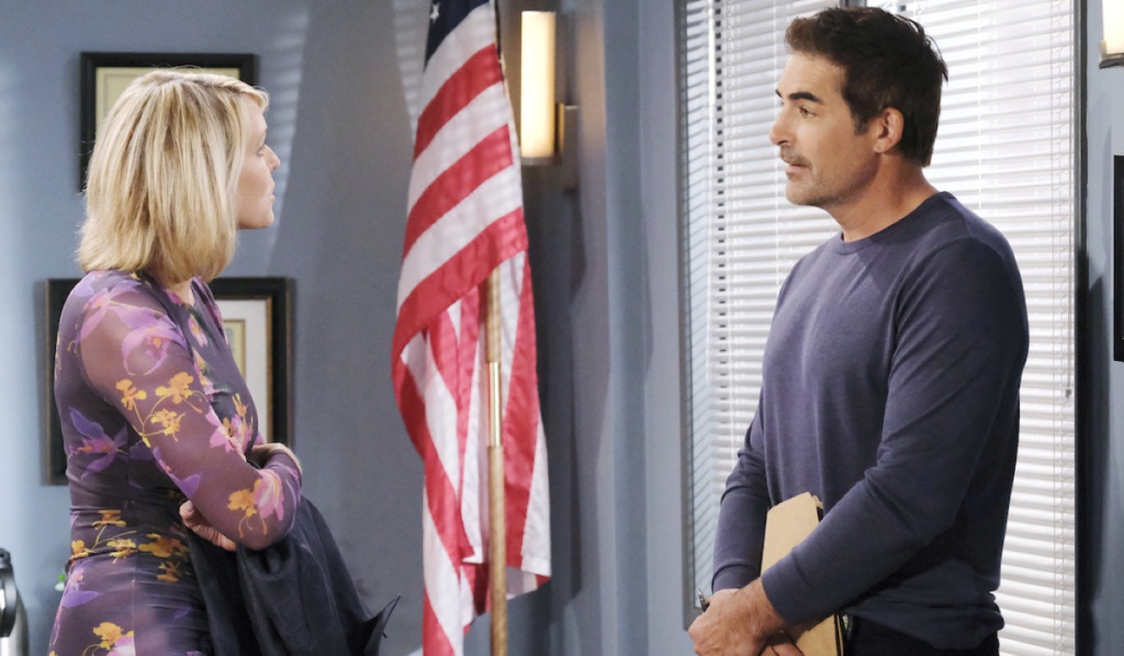 Nicole and Rafe talk at the Salem Police Department on Days of Our Lives