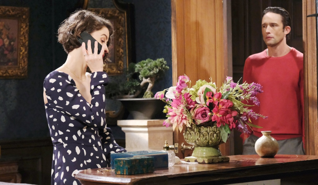 Philip spies Sarah on phone on Days of Our Lives
