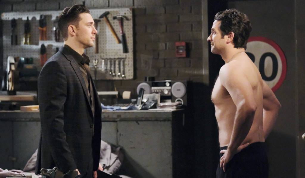 A shirtless Jake faces off with Chad on Days of Our Lives