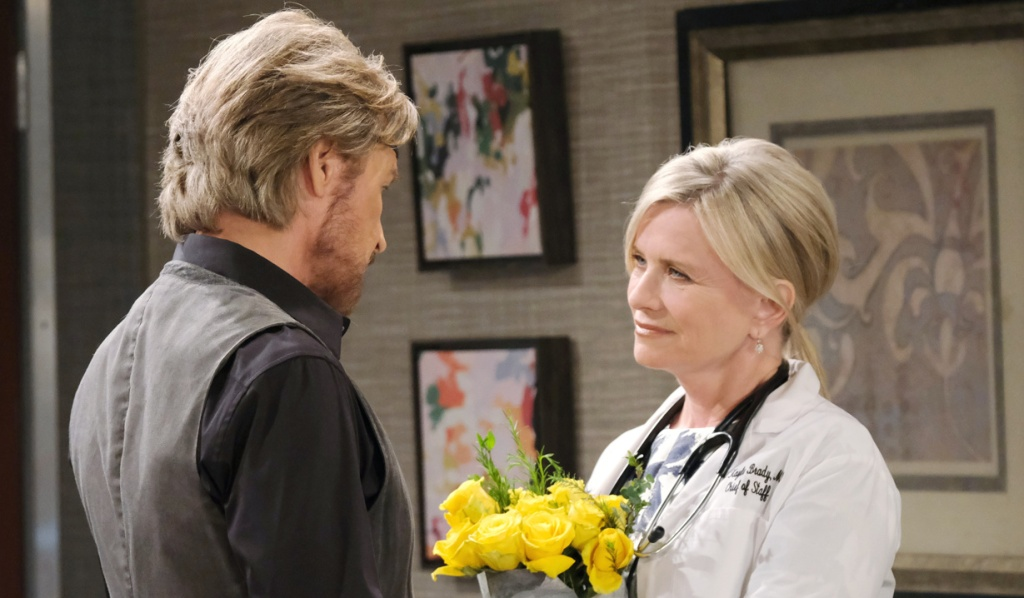 Steve, Kayla and yellow roses on Days of Our Lives
