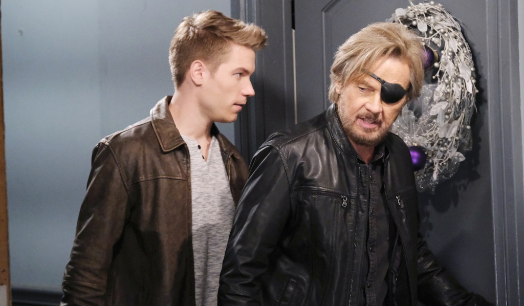 Steve and Tripp outside Ava's door on Days of Our Lives