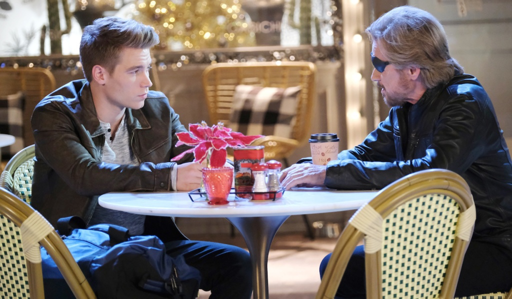 Steve and Tripp have a coffee in the Square on Days of Our Lives