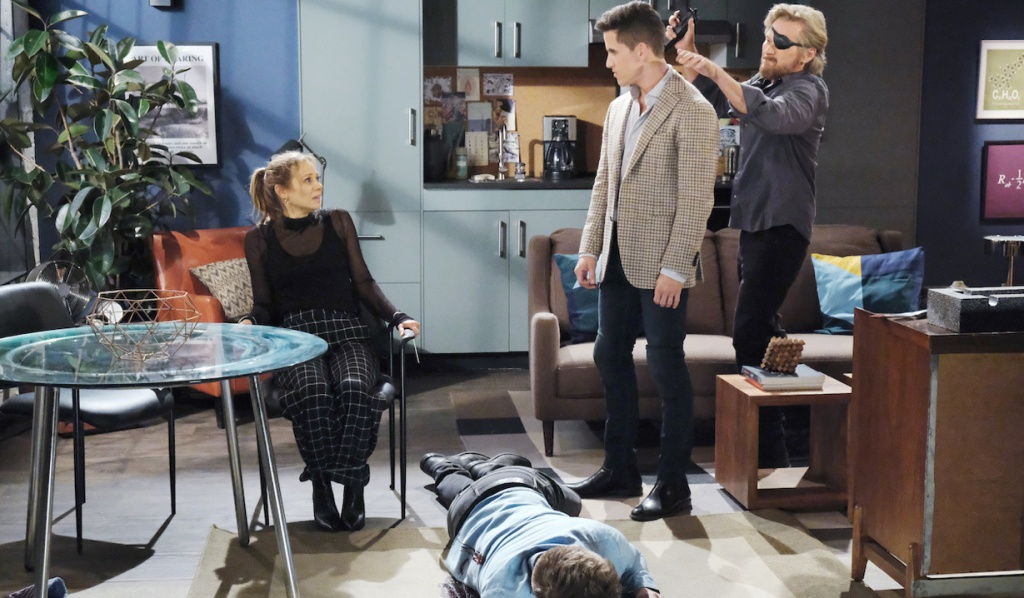 Ava's tied up, Tripp's passed out, and Steve tries to subdue Charlie on Days of Our Lives