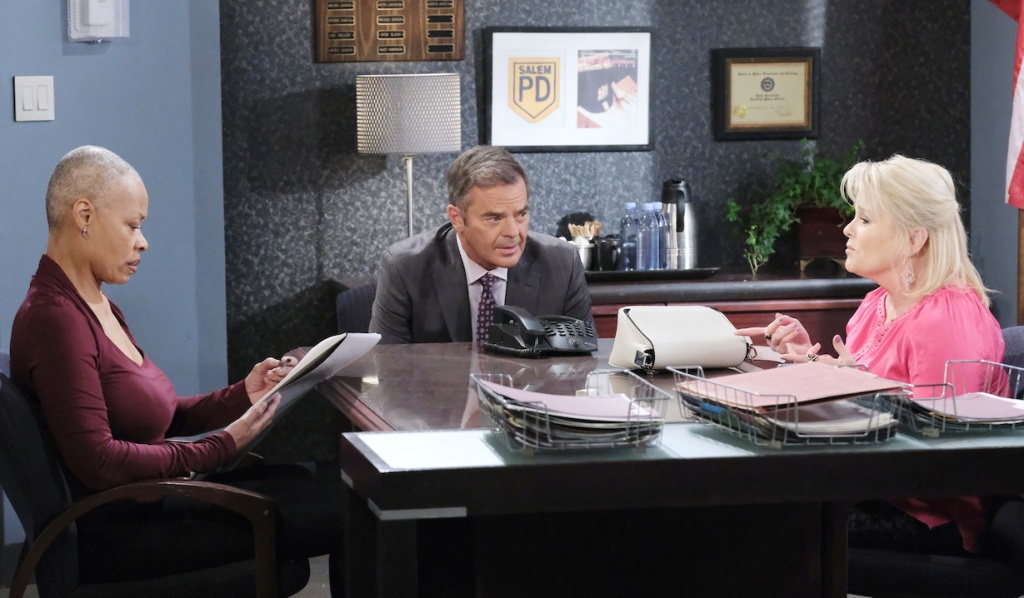Bonnie and Justin talk to a sketch artist on Days of Our Lives