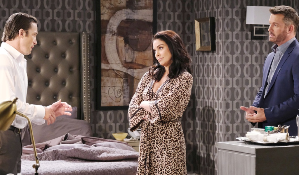 Chloe between Philip and Brady at Salem Inn on Days of Our Lives