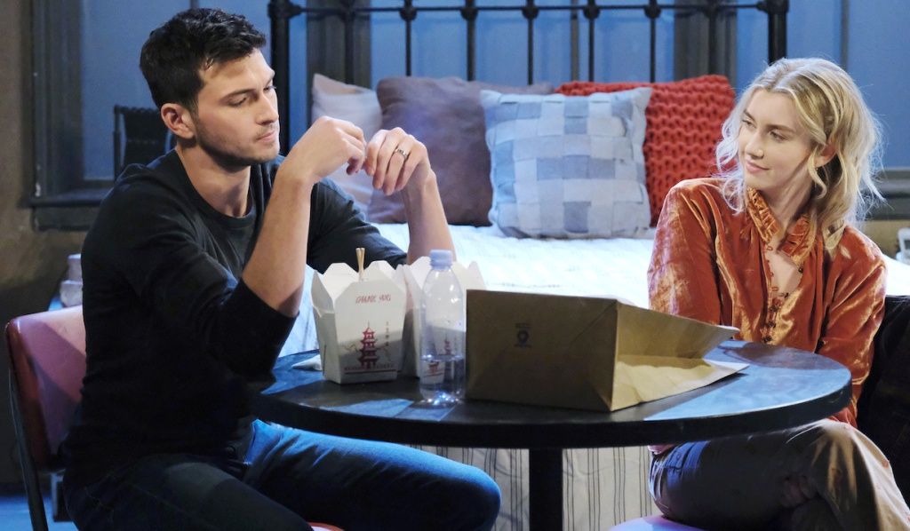 Ben and Claire eat Chinese food on Days of Our Lives