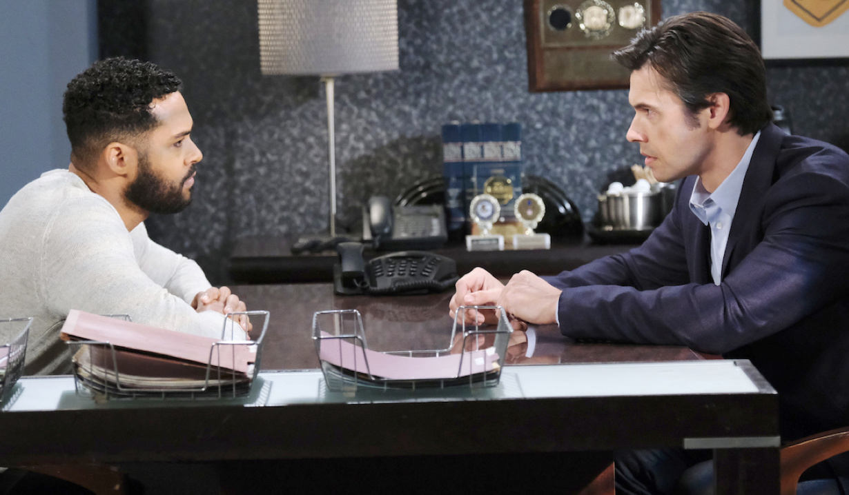 Xander helps Eli at the Salem PD on Days of Our Lives