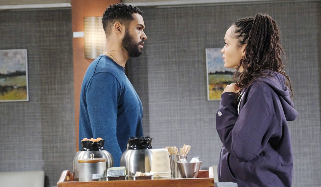 Eli and Lani stressed at the hospital on Days of Our Lives