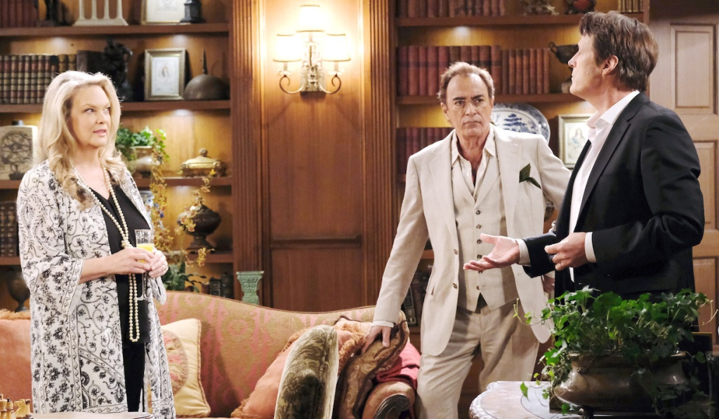 Anna, Tony, and Jack compare notes at the DiMera mansion on Days of Our Lives