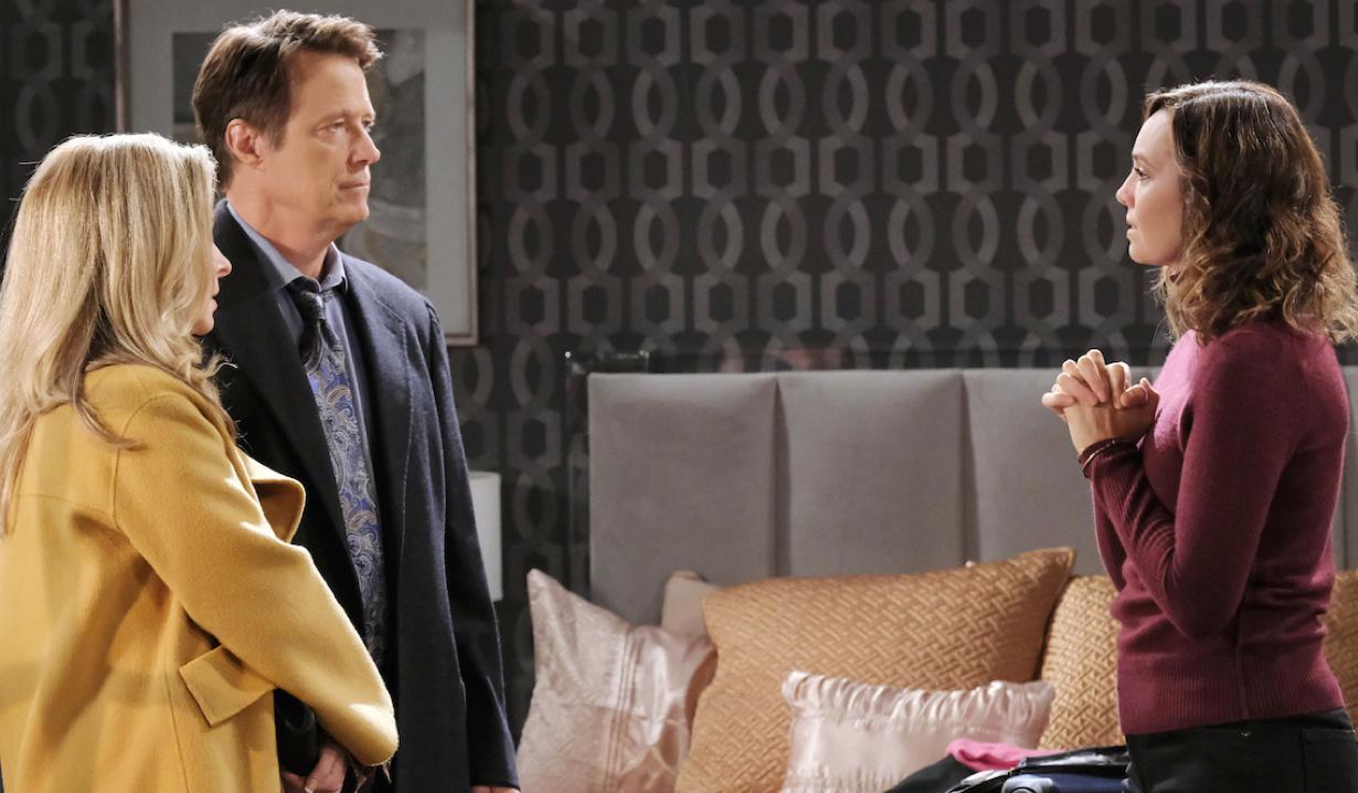 Gwen talks to Jack and Jennifer in her Salem Inn room on Days of Our Lives