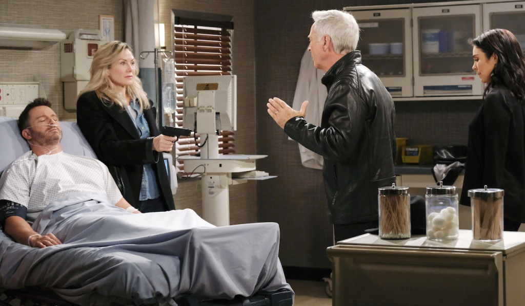 Kristen holds gun on John and Chloe at Brady's bedside on Days of Our Lives