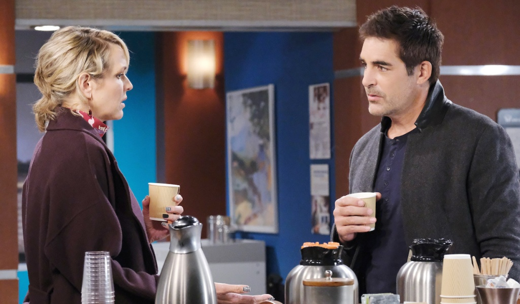 Nicole and Rafe have coffee at the hospital on Days of Our Lives