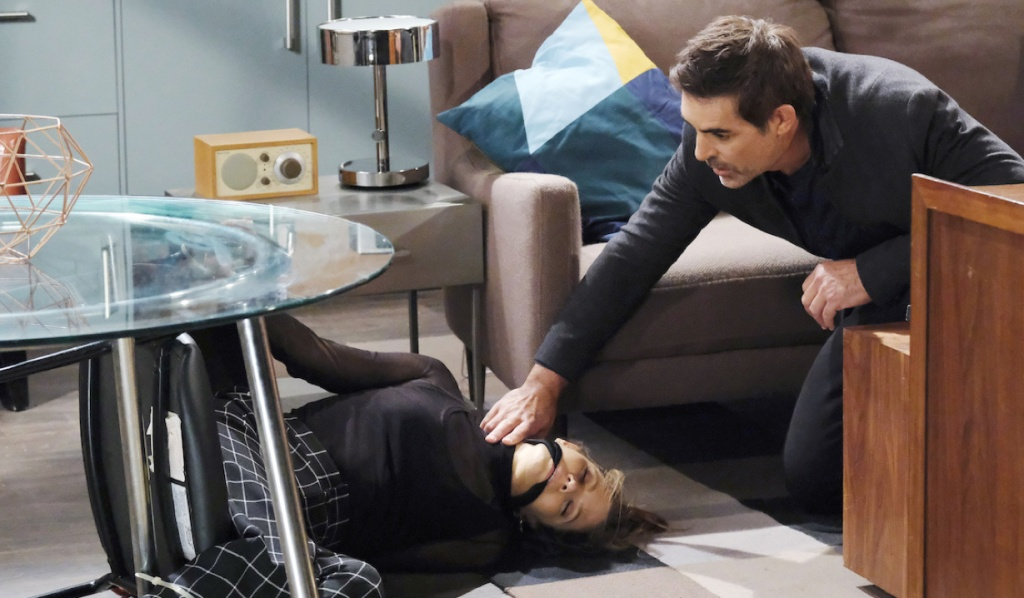 Rafe feels for a tied up Ava's pulse on Days of Our Lives