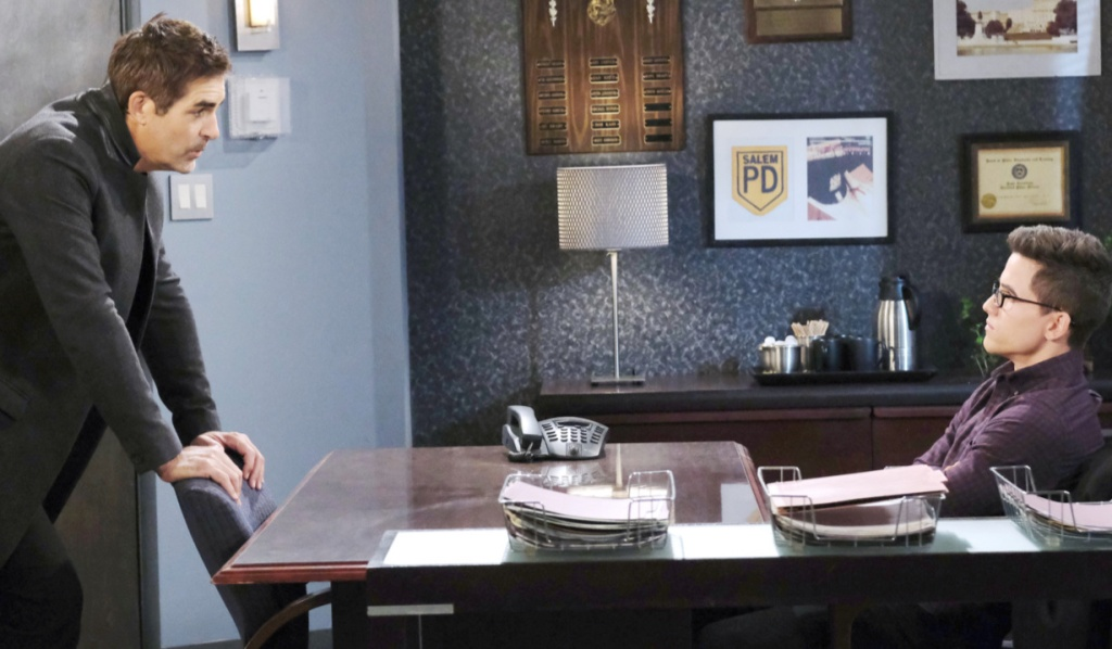 Rafe questions Charlie at the Salem Police Department on Days of Our Lives
