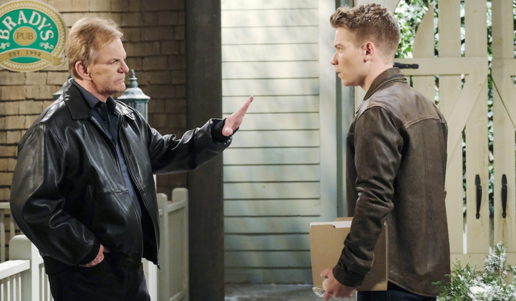 Roman and Tripp argue outside of Brady's Pub on Days of Our Lives