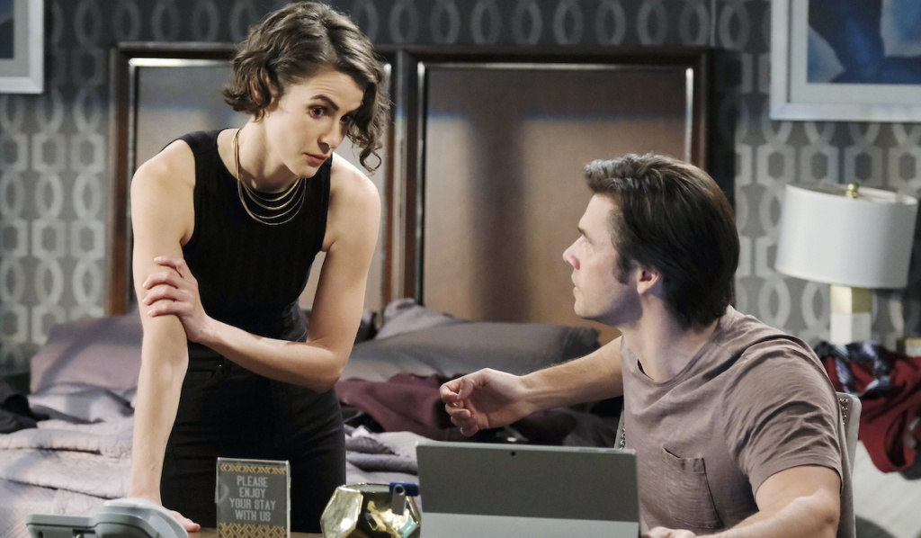 Sarah and Xander confer over investigation on Days of Our Lives