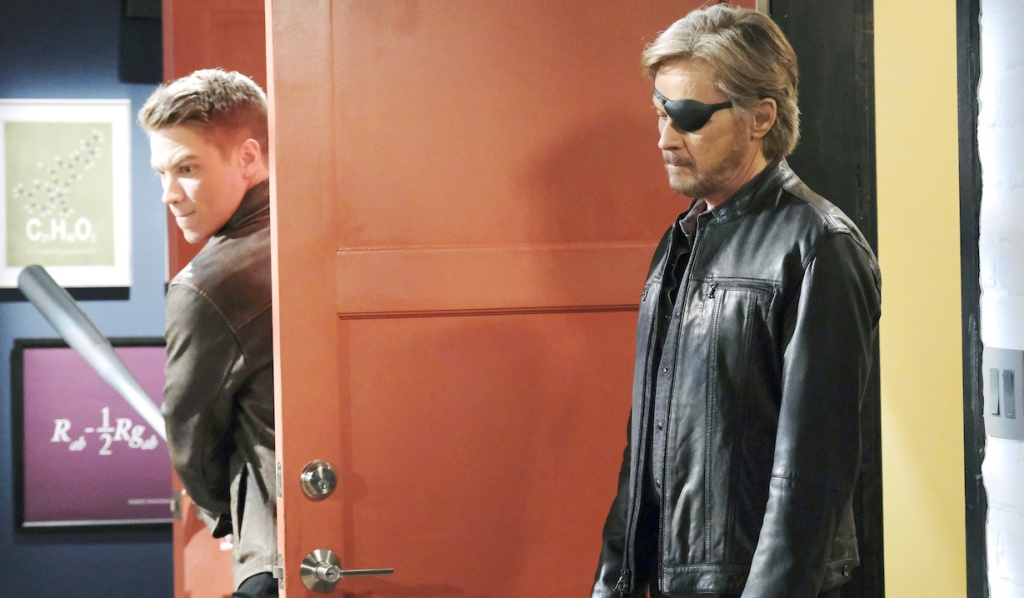 Tripp prepares to hit steve with a baseball bat on Days of Our Lives