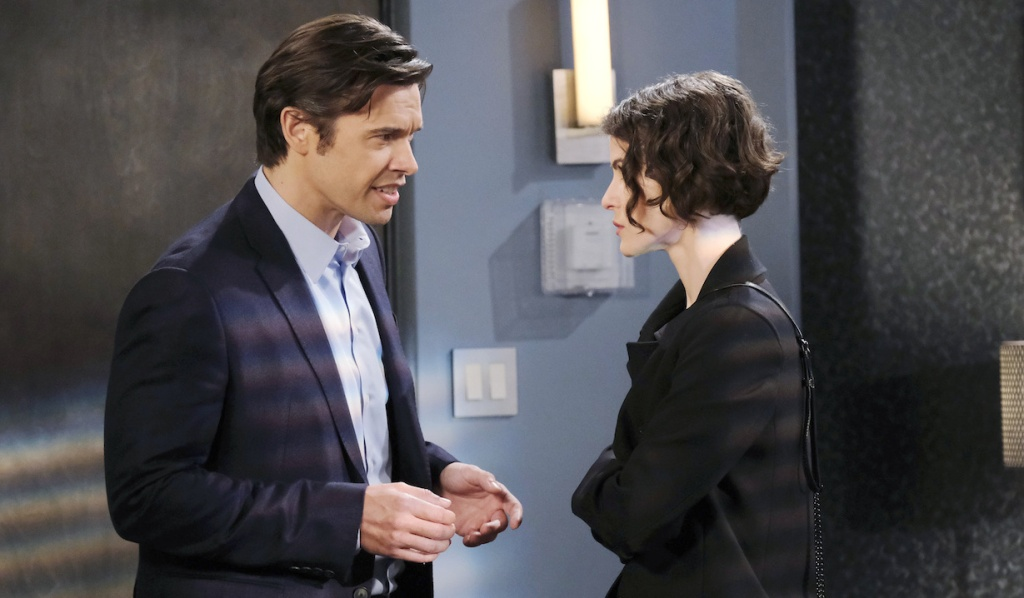 Xander defends himself to Sarah on Days of Our Lives