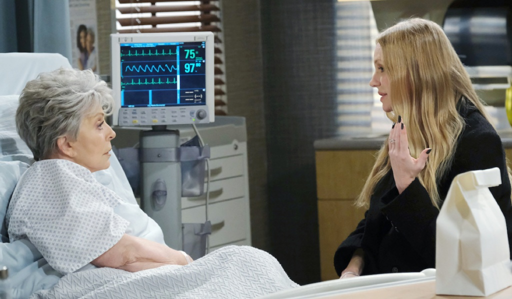 Abigail visits Julie in the hospital on Days of Our Lives