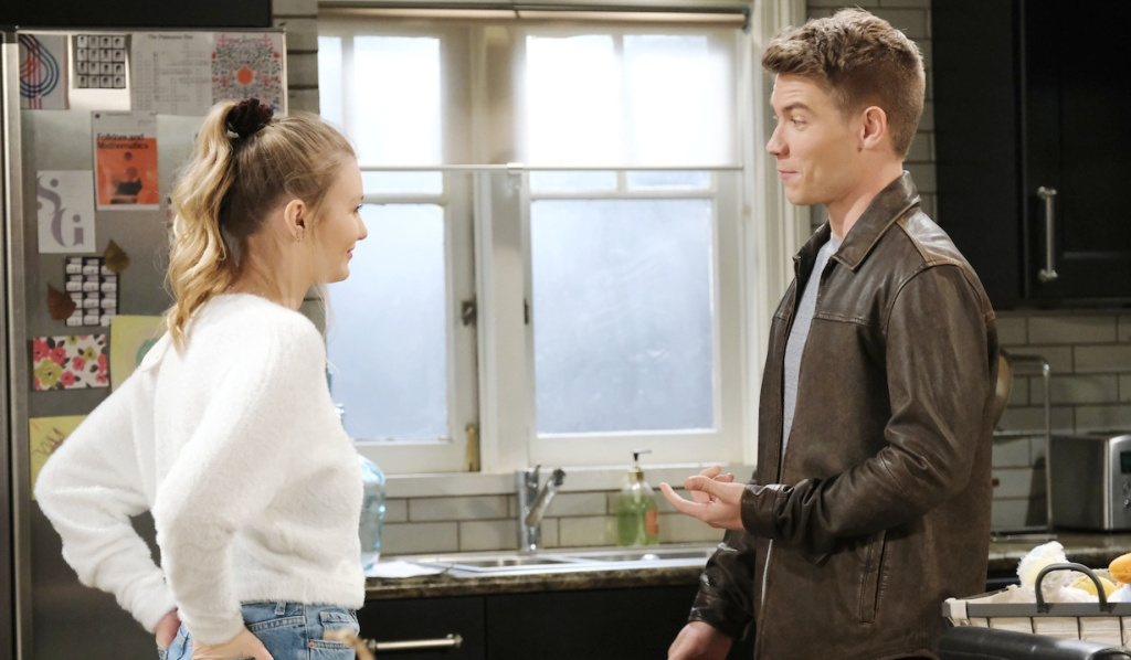 Allie and Tripp share a light moment on Days of Our Lives