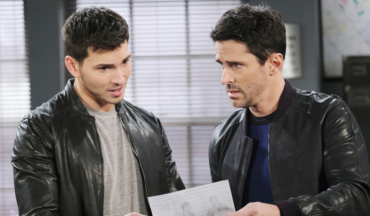 Shawn and Ben view a mugshot on Days of Our Lives