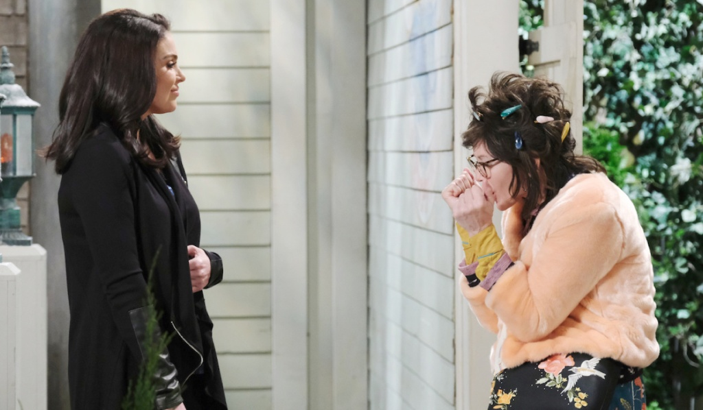 Chloe runs into Susan outside Brady's Pub on Days of Our Lives