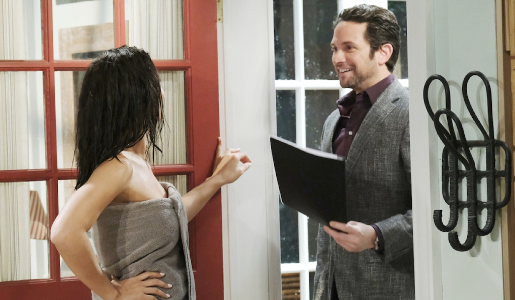 Gabi answers door to Jake in a towel on Days of Our Lives
