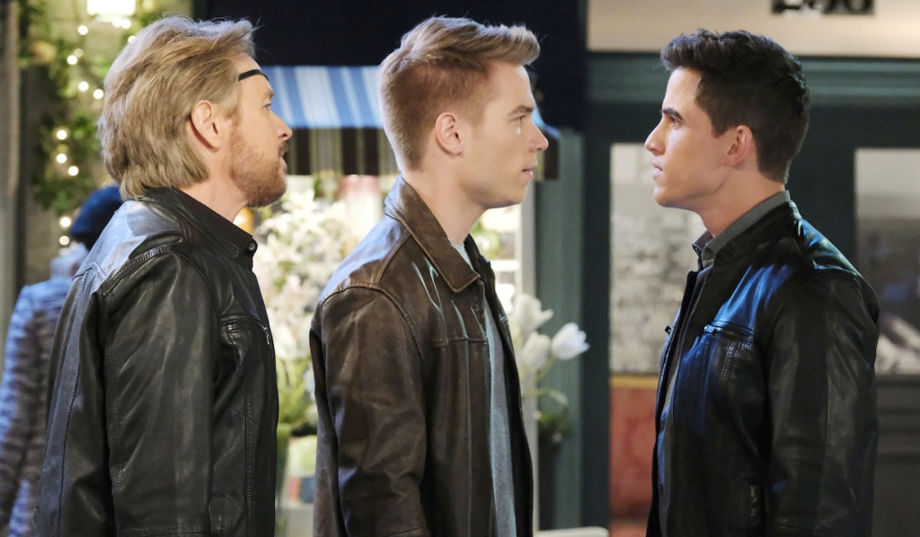 Steve and Tripp confront Charlie in the Square on Days of Our Lives