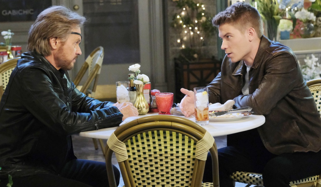 Steve and Tripp talk in the Square on Days of Our Lives