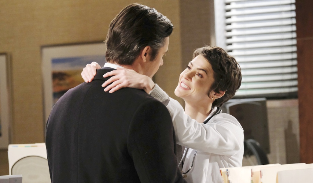 Sarah smiling up at Xander on Days of Our Lives