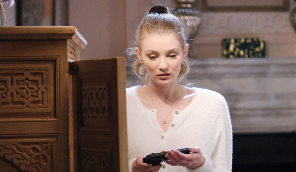Allie holds a gun on Days of Our Lives