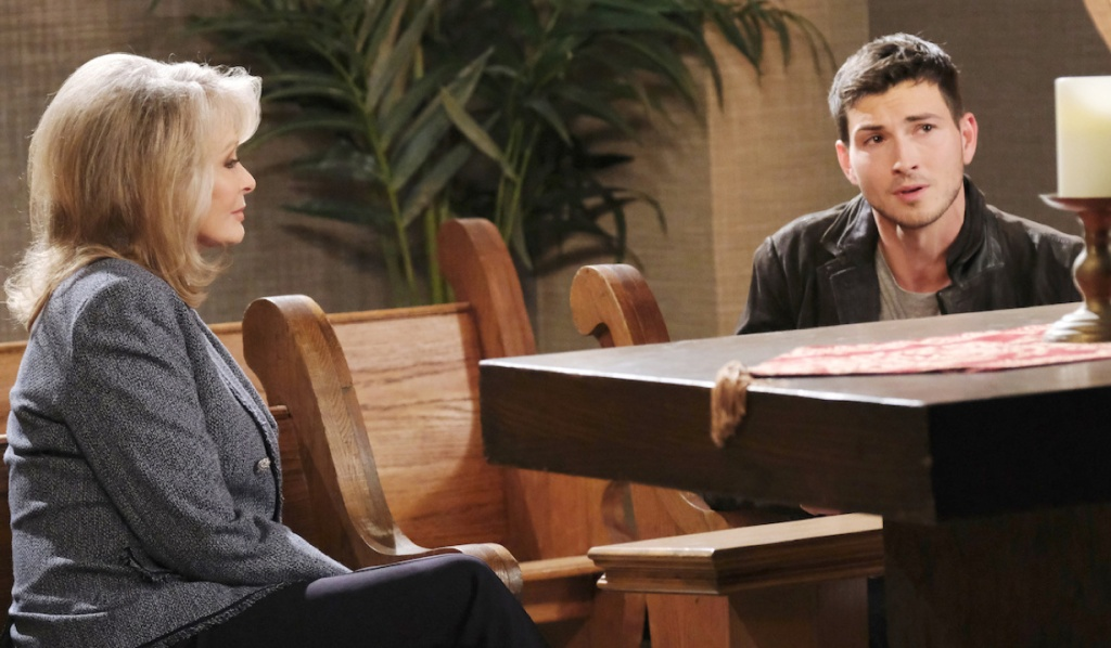Marlena listens to Ben in the chapel on Days of Our Lives