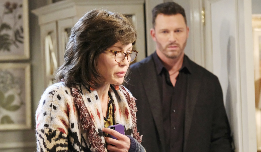 Brady watches Kristen as she impersonates Susan on Days of Our Lives