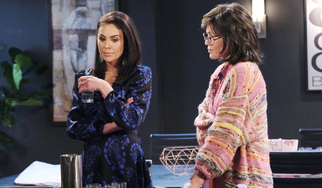 Kristen as Susan stares at Chloe at Basic Black on Days of Our Lives