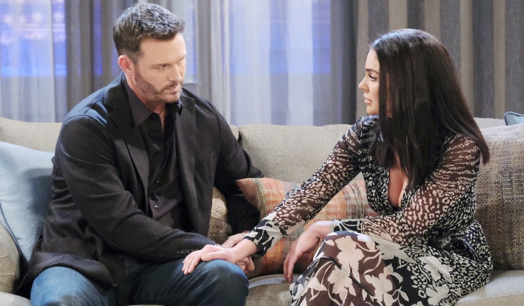 Chloe puts her hand on Brady's knee on Days of Our Lives