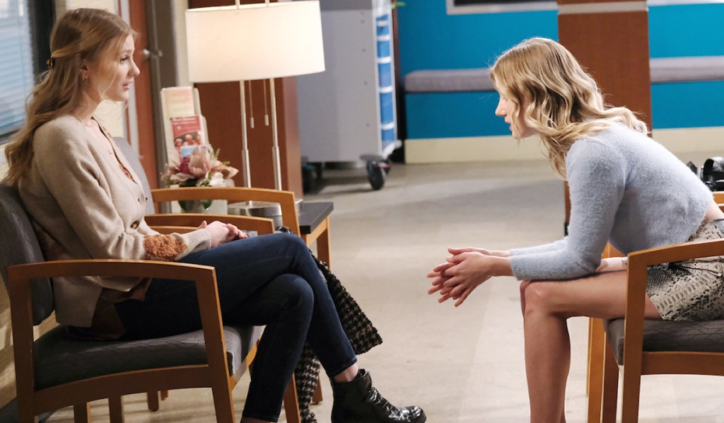 Claire and Allie talk at the hospital on Days of Our Lives