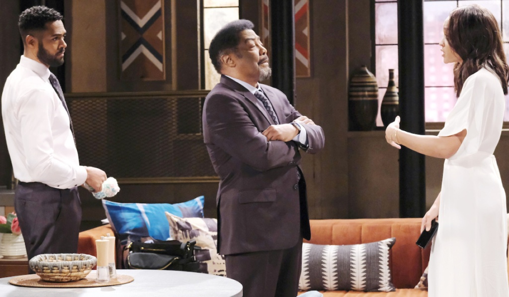 Eli watches as Lani explains to Abe on Days of Our Lives