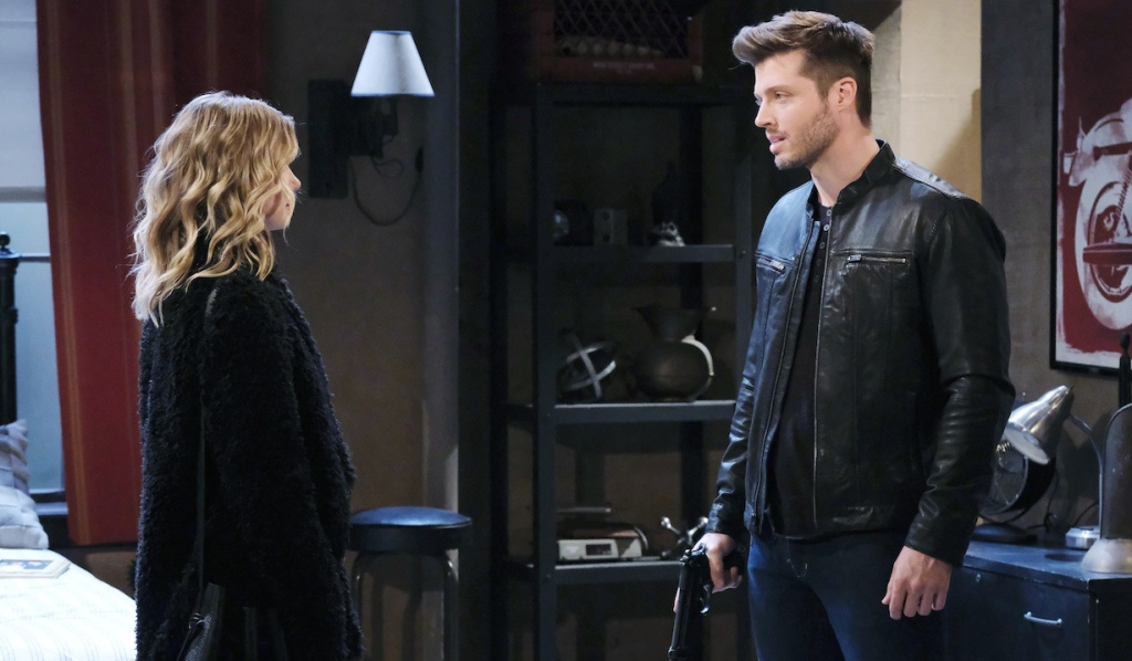 Claire faces Evan at Ben's apartment on Days of Our Lives