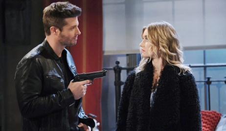 Evan points gun at Claire on Days of Our Lives