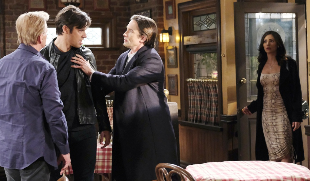 Gabi finds Philip trying to talk Xander down at Brady's Pub on Days of Our Lives